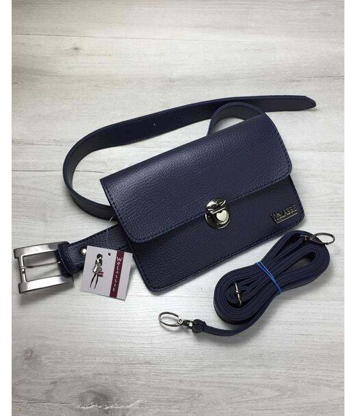 Жіноча сумка на пояс - клатч Арья синього кольору WeLassie