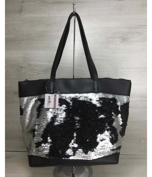 Женская сумка Лейла черного цвета с двухсторонними пайетками серебро-черный WeLassie