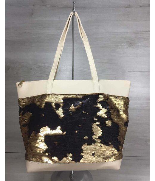 Женская сумка Лейла бежевого цвета с двухсторонними пайетками золото-черный WeLassie