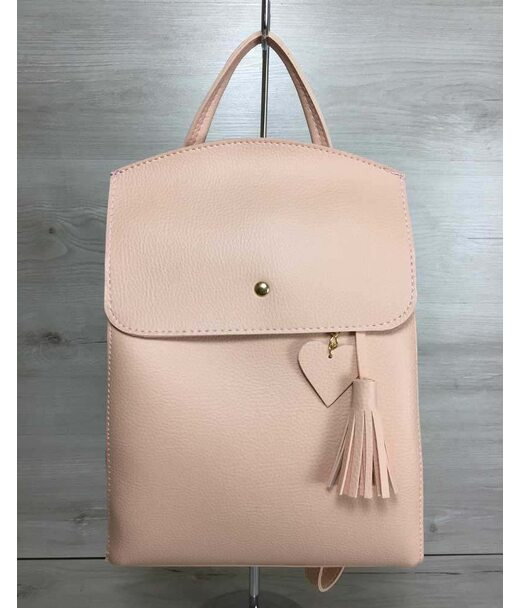 Молодіжний сумка-рюкзак Серце пудрового кольору WeLassie
