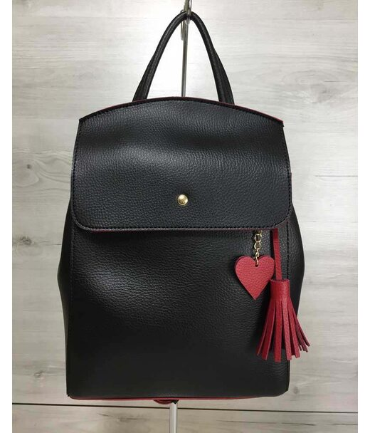 Молодежный сумка-рюкзак Сердце черного с красным цвета WeLassie