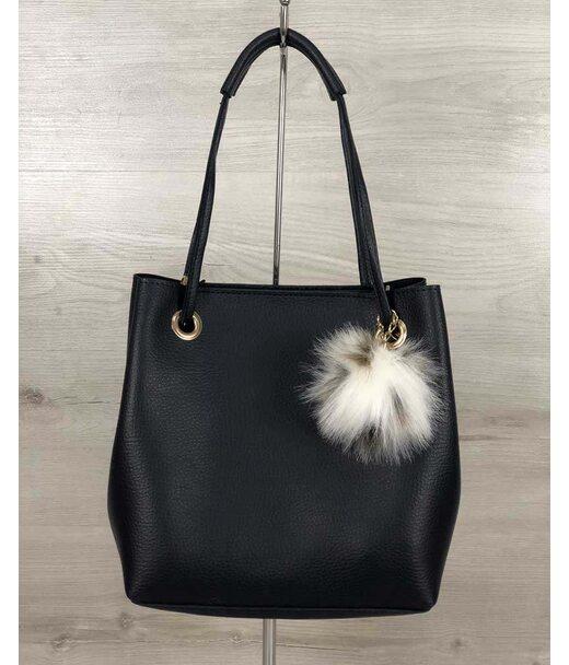 2в1 Молодіжна жіноча сумка Пушок синього кольору WeLassie