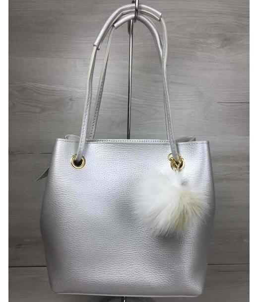 2в1 Молодіжна жіноча сумка Пушок срібного кольору WeLassie