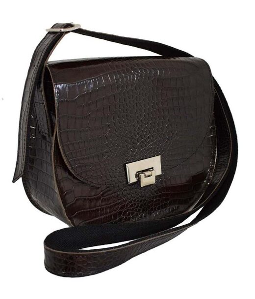 551 сумка кожа крокодил коричневая Lucherino
